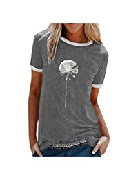 OCEAN-STORE Women T-Shirt Summer Dandelion Printing Short Sleeve Shirt Casual Tops Blouse