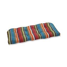 Pillow Perfect Indoor/Outdoor Westport Wicker Loveseat Cushion, Teal