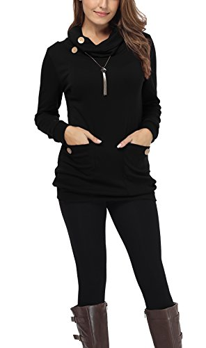 iGENJUN Women's Long Sleeve Button Cowl Neck Casual Tunic Tops with Pockets,Black,L