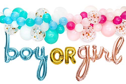Gender Reveal Party Supplies Decorations - for Boy or Girl with Rose Gold & Blue Foil Balloons, Balloon Garland Decorating Strip with 76 Assorted Blue, Pink, Confetti Latex Balloons, and Hand Pump]()