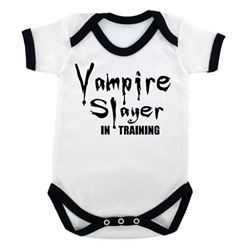 [Funny Vampire Slayer in Training Baby Bodysuit with Black Trim and Black Print] (Vampire Suit)