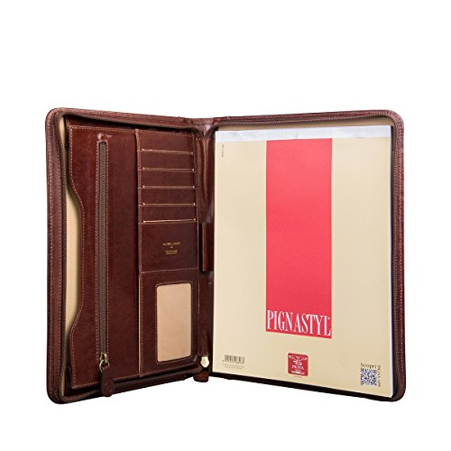 Maxwell Scott Luxury Tan Leather Zipped Conference Folder (The Dimaro) - One Size by Maxwell Scott Bags