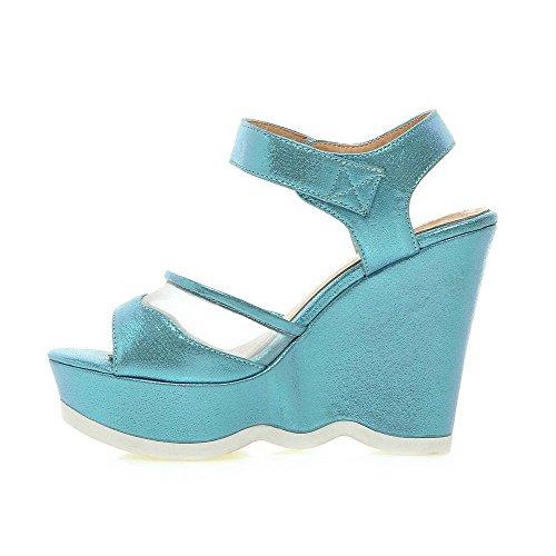 AllhqFashion Mujeres Puntera Abierta Plataforma Sólido Velcro Sandalia Azul
