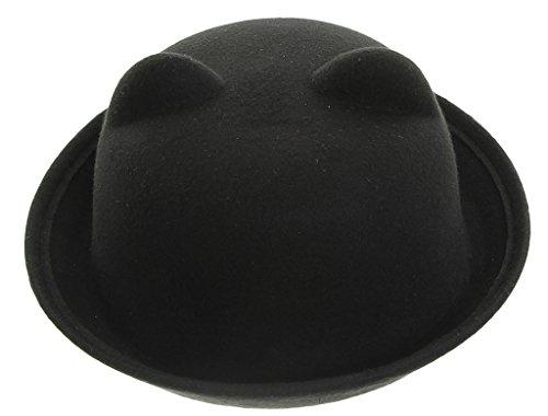 "EOZY Women Wool Felt Cat Ear Roll-up Hat Fedora Bowler Head Circumference 22.5"" Black"