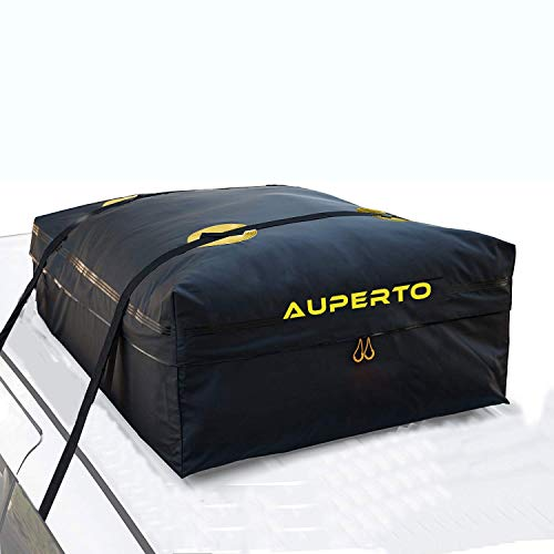 AUPERTO Waterproof Rooftop Cargo Carrier Bag - 15 Cubic Feet Soft Car Roof Bag with 2 Heavy Duty Adjustable Straps Fits All Cars