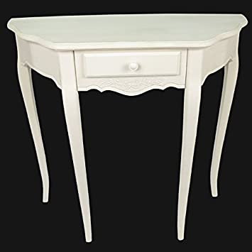 small white half moon console table entry with drawers french style antique cream ornate