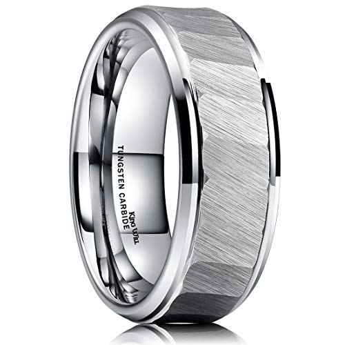 - King Will Hammer 8mm Mens Tungsten Carbide Ring Hammered Brushed Finish Beveled Edge Wedding Band Comfort Fit 13.5