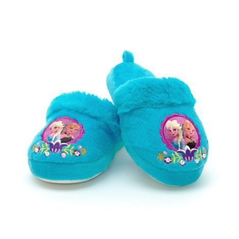 Disney Authentic - Frozen Elsa Anna Warm Winter Indoor Slippers Shoes For Girls / Kids - Size UK 11 - 12 .... EU 29 - 31 by Disney