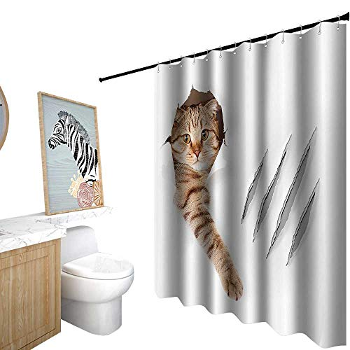 StarsART Shower Curtains and Rug Sets,Animal,Funny Cat in Wallpaper Hole with Claw Scratches Playful Kitten Cute Pet Picture,Shower Curtain for Women,W72 x L96,Brown -