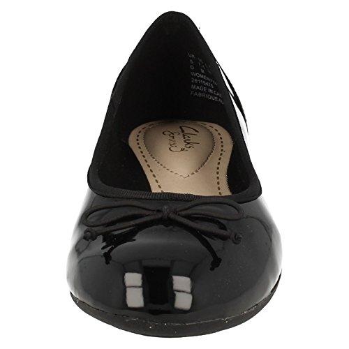 Clarks Bloeien Couture Dames Zwart Lak Ballerina