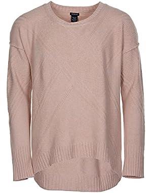 Women's Crew Neck High-Low Hem Pullover Sweater