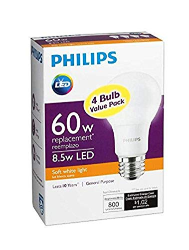 Philips New 60-Watt Equivalent A19 LED Light Bulb Soft White - 2700K - 4 Count - Pack of 2