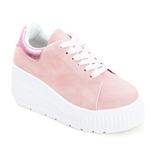 Sportive Scarpe Nuove Casual Stringate Sneakers Zeppa Rosa Toocool Donna Platform Alte LT51 06xnZwZa