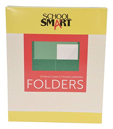 School Smart 2-Pocket Folders, Green, Pack of 25 - Pocket Green Two