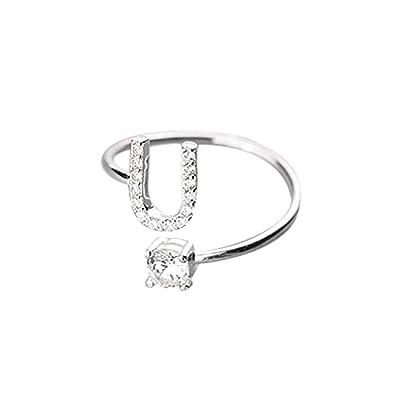 Kycut - Anillo para Mujer, diseño de 26 Letras con Diamantes ...