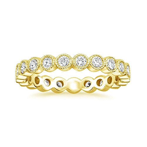 espere Sterling Silver Round Bezel CZ Stack Ring Eternity Bands Promise Rings for Her 18K Gold Plating Size 6