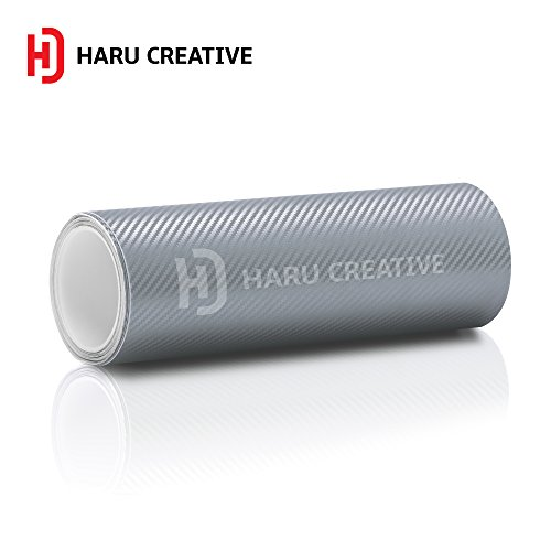 Haru Creative 3D Carbon Fiber Matte Vinyl Wrap Roll with Air Release Technology - Silver - 12