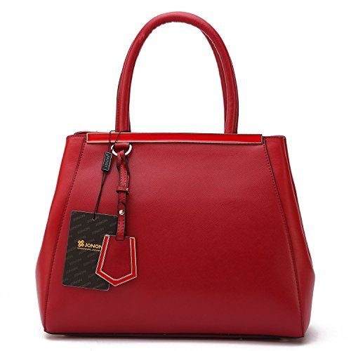 Jonon Classic Fashion Women's Cross Pattern Genuine Leather Top-handle Bag Tote Bags (red)