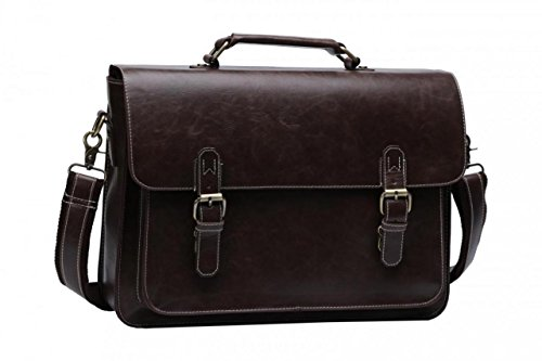 14'' PU Leather Briefcase Business Laptop Messenger Bag With Soft Handle Brown
