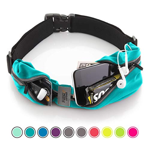 (Running Belt USA Patented. Fanny Pack for Hands-Free Workout. iPhone X 6 7 8 Plus Buddy Pouch for Runners. Freerunning Reflective Waist Pack Phone Holder. Men Women Kids Gear Accessories (Turquoise))