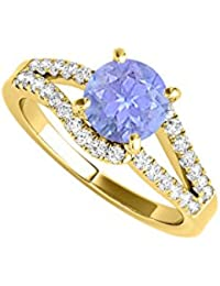 December Birthstone Tanzanite and CZ Split Shank Ring