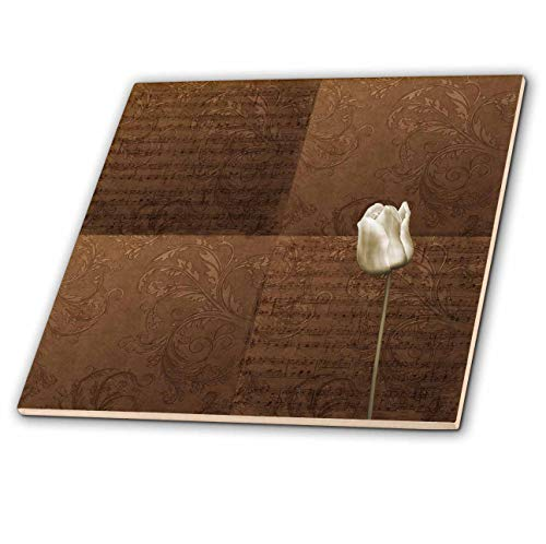 3dRose PS Creations - Elegant White Tulip with Bronze Music - 6 Inch Ceramic Tile (ct_108749_2)
