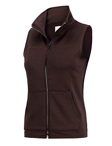 REGNA X Womens Polar Fleece Long Full Zip up Fleece Vest Jacket Brown (Brown Fleece Vest)