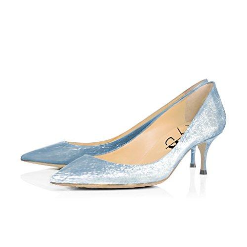 XYD Office Formal Dress Pumps Pointy Toe Kitten Low Heels Comfortable Slip On Shoes for Women Size 11 Light Blue -