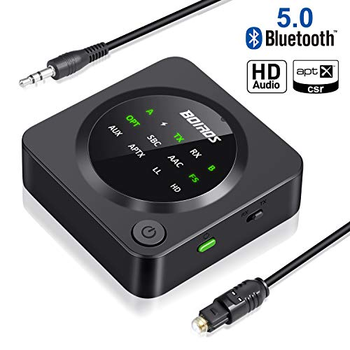 - Bluetooth 5.0 Transmitter Receiver, BOIROS 2-in-1 Wireless 3.5mm Aux Bluetooth Audio Adapter - aptX Low Latency, Plug & Play Pair 2 at Once for Home TV PC Headphones Speakers & Car Stereo System
