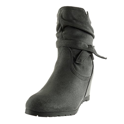 knot soft Women's Shoes thong Booty node 7 Wedge Angkorly Ankle boots Grey Fashion CM gd0Ynqq1f