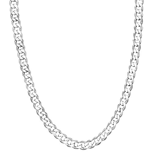 (Honolulu Jewelry Company Sterling Silver 4mm - 7.5mm Curb Link Chain Necklace or Bracelet (6mm - 20 Inches))