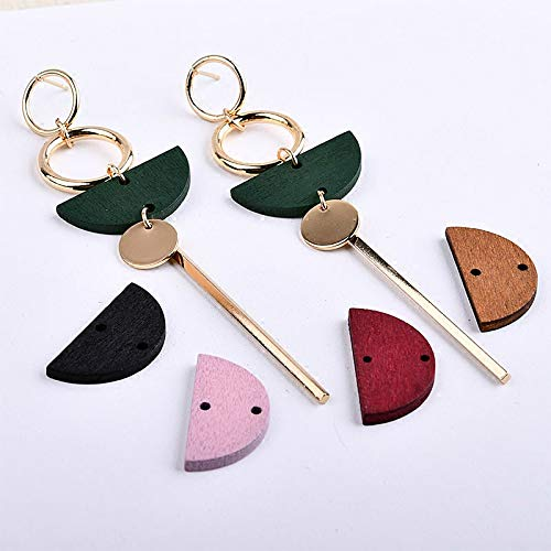 Color: 22 Laliva Simple Exaggerated Geometric Wood Round Semicircle Double Hole Earring Ear and Ear Accessories DIY Handmade Material