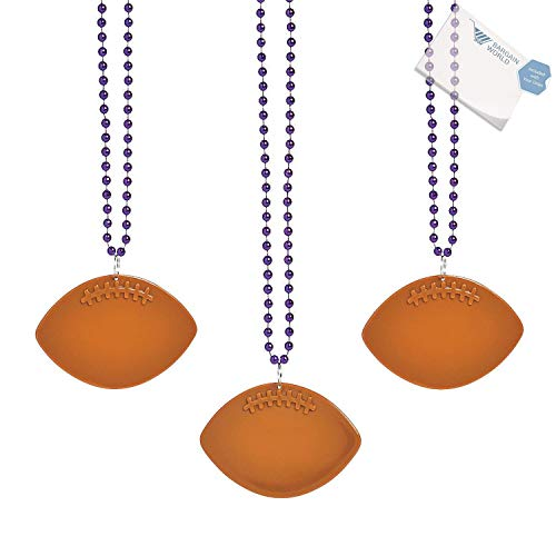 (Bargain World Purple Bead Necklaces with Football Charms (With Sticky Notes))