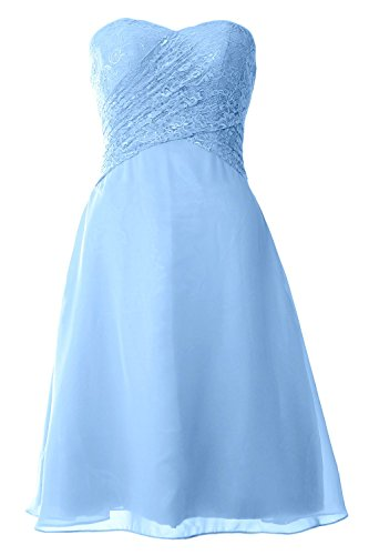 MACloth Women Strapless Lace Short Bridesmaid Dress Wedding Party Formal Gown (26w, Sky Blue)