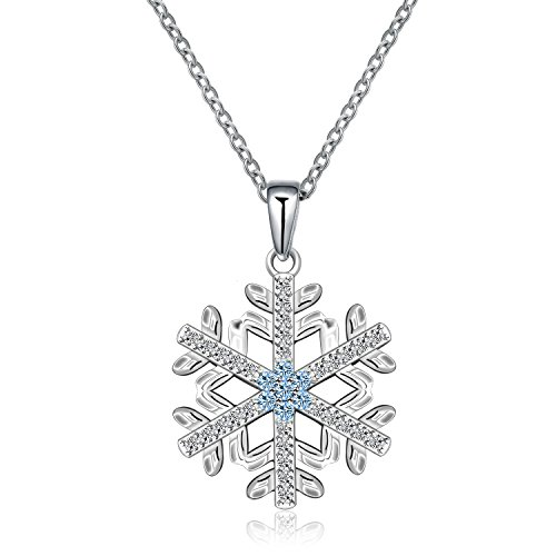 (925 Sterling Silver Princess Blue and White Crystal Frozen Snowflake Pendant Necklace 18'' For Women Girls Gift(Frozen Snowflake)