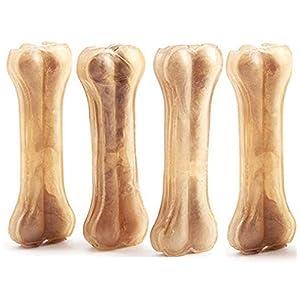 4 Pcs Hueso Prensado para Perros Piel Vacuno Fortalecedor de Dientes Stick Dental Dog Snack 14cm BPS-5000*4 (4 Pcs)