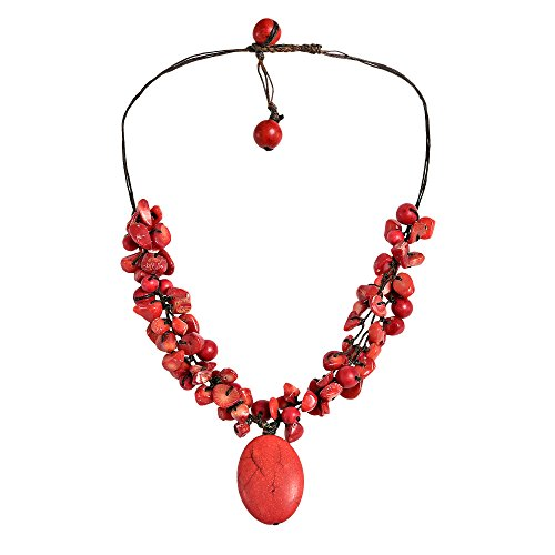 Reconstructed Red Coral and Dyed Red Howlite Oval Pendant (Red Coral Oval Pendant)