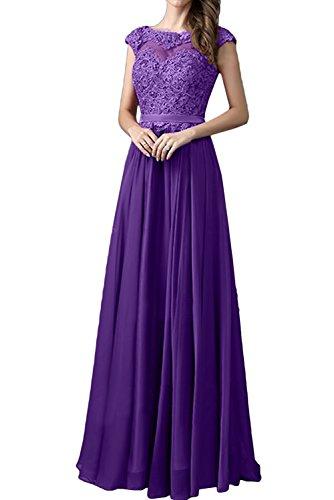 Festkleid Ivydressing Rundkragen Spitze Traumhaft Abendkleid Ballkleider Damen Violett Promkleid qP4HqFn