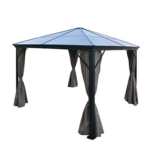 Christopher Knight Home 303378 Bali Outdoor 10 x 10 Foot Black Rust Proof Aluminum Framed Hardtop Gazebo w, Brown