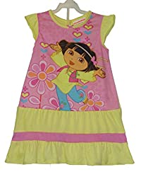 Nickelodeon Girl's Size 4 Yellow and Pink DORA The Explorer Floral Nightgown