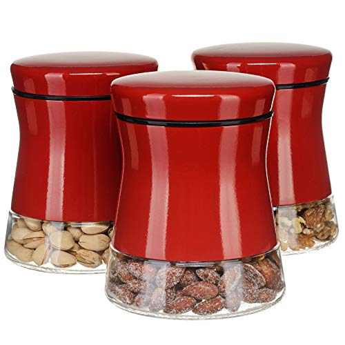 CHEFVANTAGE Glass Kitchen Storage Jar Set for Countertop with Air Tight Container Lid - ()