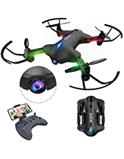 ATOYX Drone Plegable para Principiantes, 720P Drone con Cámara App WiFi FPV en Tiempo Real, Altitud Hold, Modo sin Cabeza, Despegue/Aterrizaje, Gravedad Sensor, AT-146