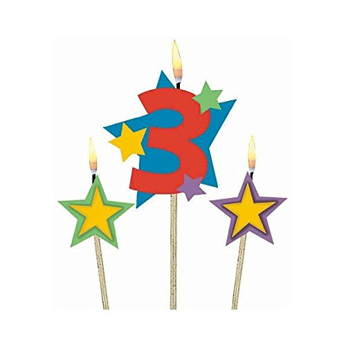 Amscan Birthday Celebration, #3 Decorative Pick Candles, Party Supplies, Multicolor, 7