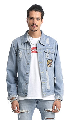 Pizoff Mens Hipster Long Zip-up Sleeve Washed Back Sewn-On Tiger Floral Patterns Button Down Denim Cotton Jacket With Pockets AH008-LightBlue-XL