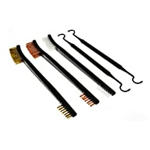 SE 7624BC-5 5-Piece Gun Cleaning Brush Set, 3 Brushes and 2 Double Ended Picks