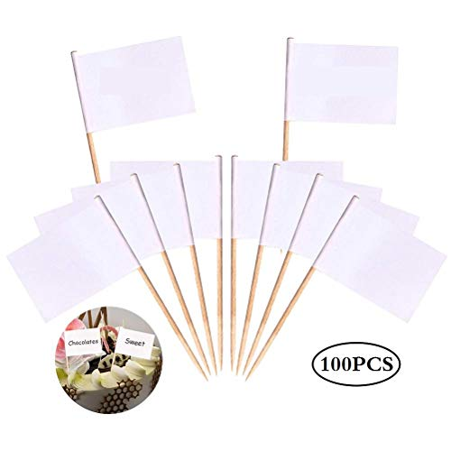 100 Pack Blank Toothpick Flags, Dinner Cocktail Flags Cheese Markers, White Flags Labeling Marking for Party Cake Food