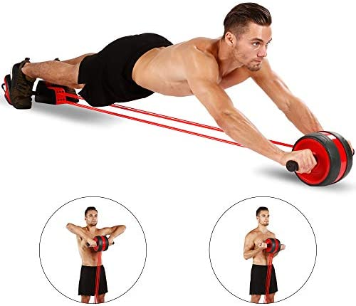 KOGNITA Ab Roller Exercise Equipment – Ab Roller with Resistance Band, Abdominal Wheel, Core Workout Machine for Home Gym