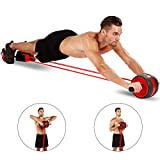 KOGNITA Abdominal Roller Exercise Equipment – Ab Roller Wheel with Resistance Band,Core Workout Machine for Home Gym,Chest Back Wheel Strength Trainer