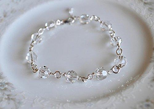 884d7d32c Amazon.com: Swarovski crystal and sterling silver wire wrapped link bracelet,  wedding jewelry: Handmade