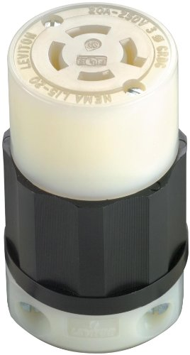 Leviton 2423 20 Amp, 250 Volt 3-phase, NEMA L15-20R, 3P, 4W, Locking Connector, Industrial Grade, Grounding - Black-White